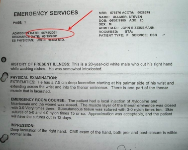 Hosptial Report - Hand Injury - May 15, 2001